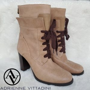 Adrienne Vittadini Leather Lace Up Heeled Boots